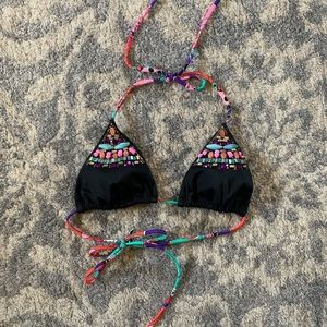 Victoria's Secret Black Beaded Boho Bikini Top